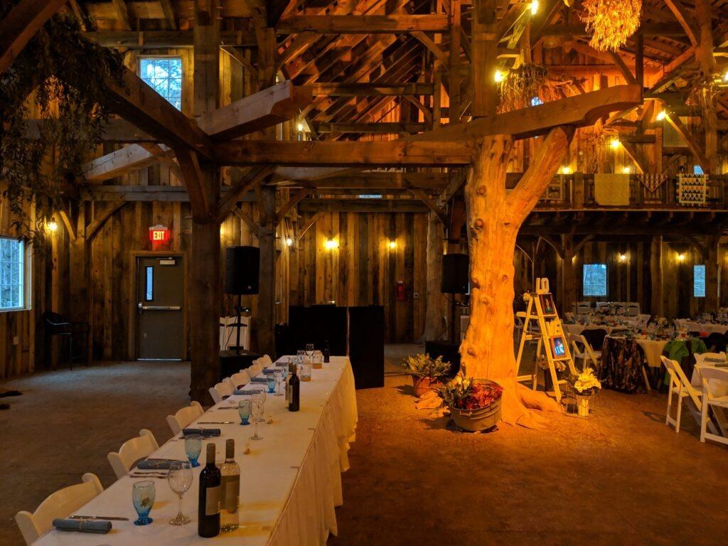Swan Barn Door wedding ceremony and reception