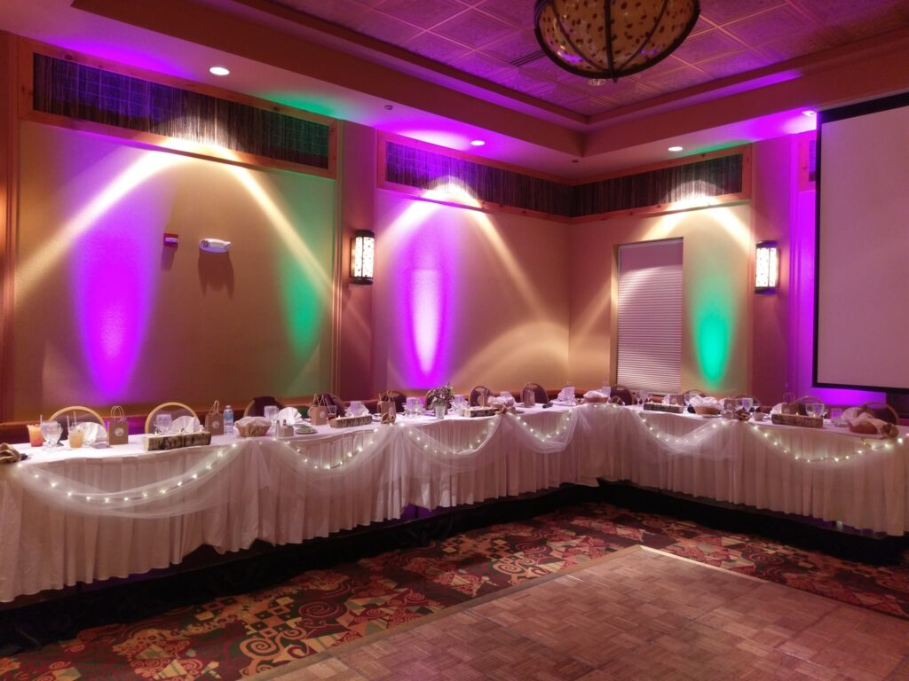 Uplighting for head table at Chula Vista Resort